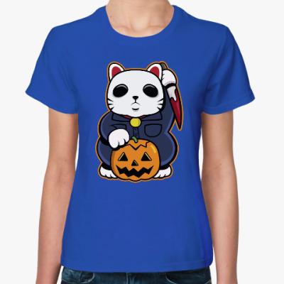 Женская футболка Halloween Maneki Neko и тыква