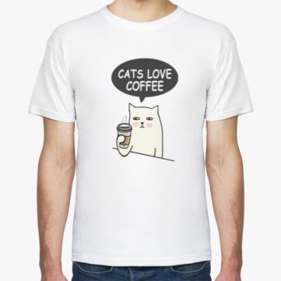 Футболка CATS LOVE COFFEE КОТ КОФЕ