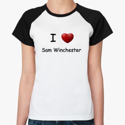 Женская футболка реглан   I Love Sam