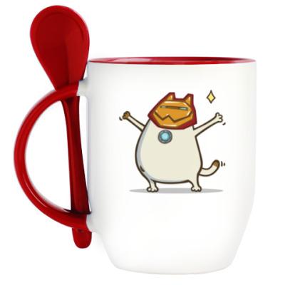 Кружка с ложкой Айронкот — Пятничный Котик №32