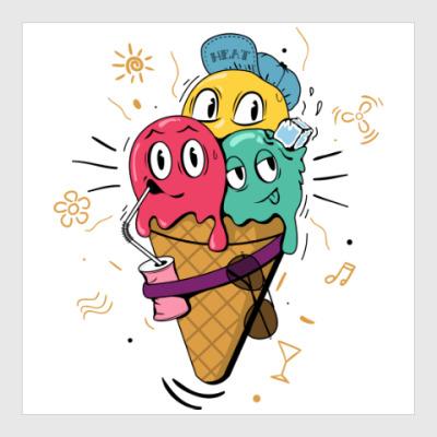 Постер Смешные шарики мороженного