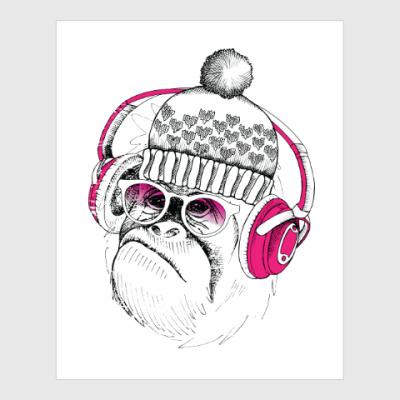 Постер Новогодняя смешная обезьянка