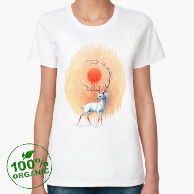 Женская футболка из органик-хлопка Дух весны белый олень