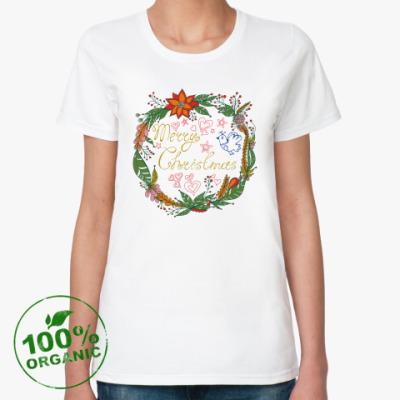 Женская футболка из органик-хлопка Merry Chrisrmas