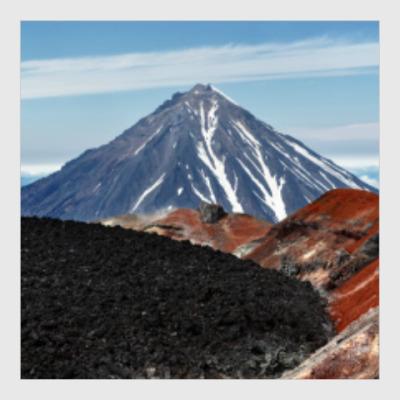 Постер Вулканы, летний пейзаж полуострова Камчатка