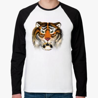Футболка реглан с длинным рукавом Огненный тигр