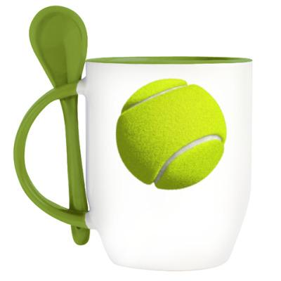 Кружка с ложкой Теннисный мяч