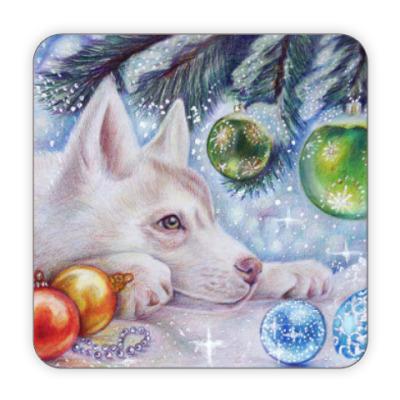 Костер (подставка под кружку) Новогодняя собака под елкой