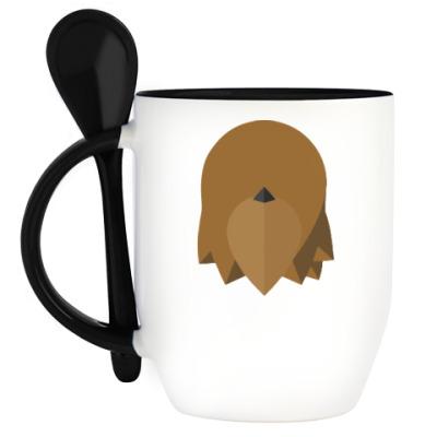 Кружка с ложкой Чубакка (Chewbacca) Минимализм