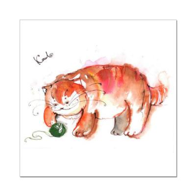 Наклейка (стикер) Рыжий кот