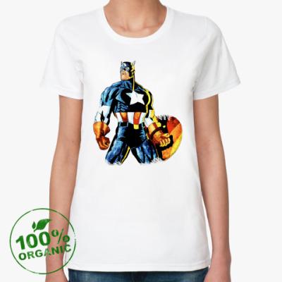 Женская футболка из органик-хлопка Капитан Америка