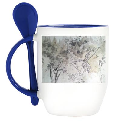 Кружка с ложкой Силуэты цветов и листьев