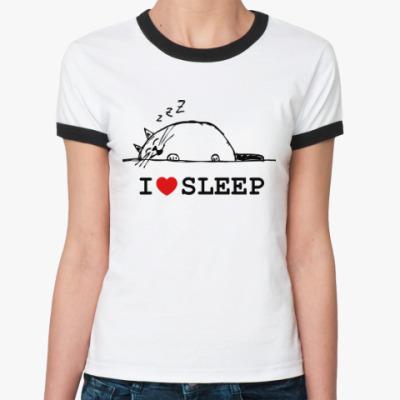 Женская футболка Ringer-T Внутренний кот любит спать