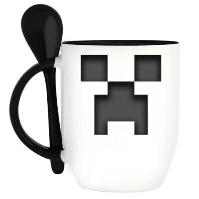 Кружка с ложкой Minecraft Creeper