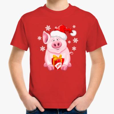 Детская футболка Новогодняя хрюшка 2019