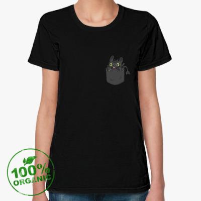 Женская футболка из органик-хлопка Ночная Фурия в кармане