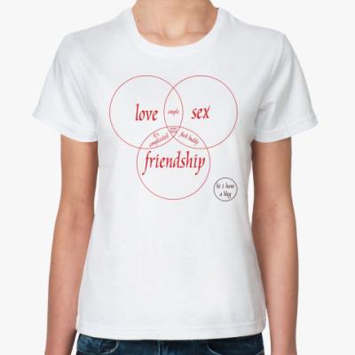 Классическая футболка LOVE, SEX, FRIEND