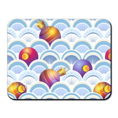 Коврик для мыши Ёлочные шары в абстрактных волнах