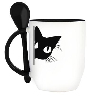 Кружка с ложкой Выглядывающий кот