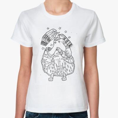 Классическая футболка Девица-небо задирает юбку