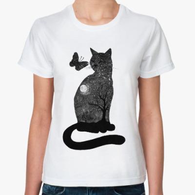 Классическая футболка Лунная кошка