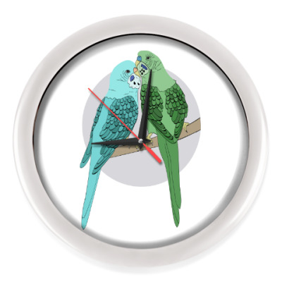 Настенные часы Волнистые попугайчики