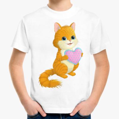 Детская футболка Рыжий полосатый котёнок и сердечко