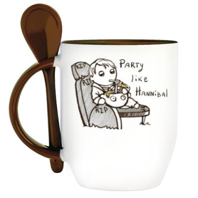 Кружка с ложкой Party Like Hannibal ( Ганнибал )