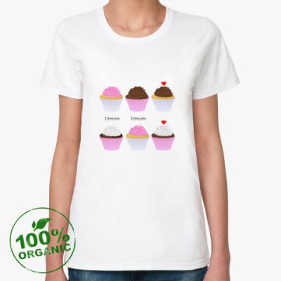 Женская футболка из органик-хлопка Капкейки