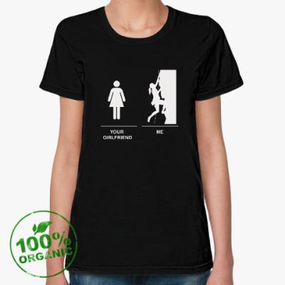 Женская футболка из органик-хлопка Climbing girl : Скалолазка