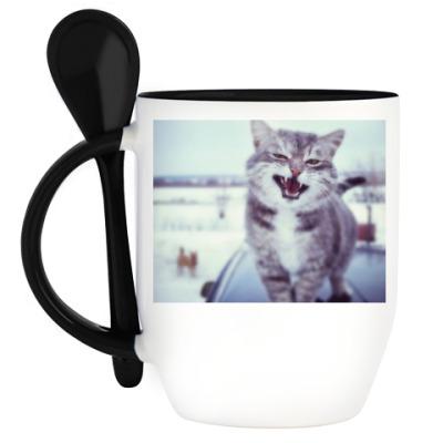 Кружка с ложкой Смазливый кот.