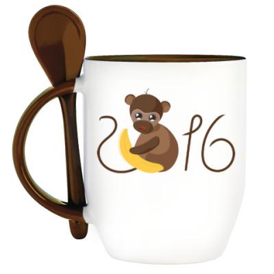 Кружка с ложкой Обезьянка Биззи 2016