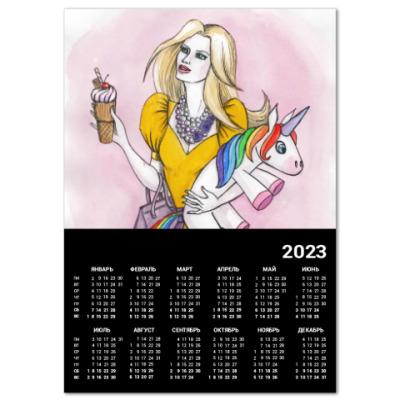 Календарь Девушка с единорогом