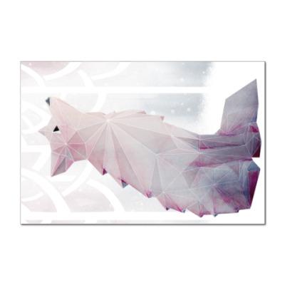 Наклейка (стикер) Зимний Лис в снегу Winter fox