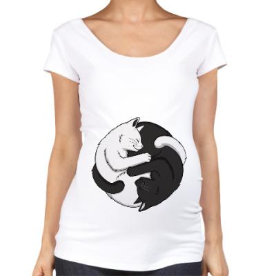 Футболка для беременных Черный и белый кот инь-ян