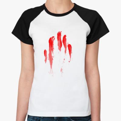 Женская футболка реглан Кровавый след