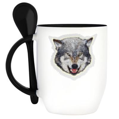 Кружка с ложкой Волк