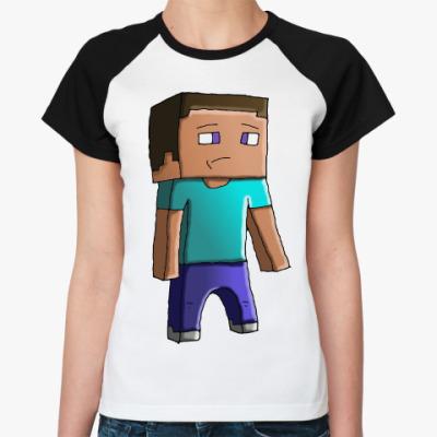 Женская футболка реглан Minecraft Steve