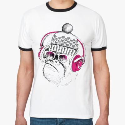 Футболка Ringer-T Новогодняя смешная обезьянка