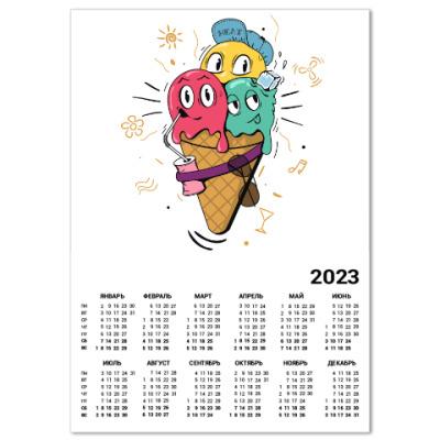 Календарь Смешные шарики мороженного