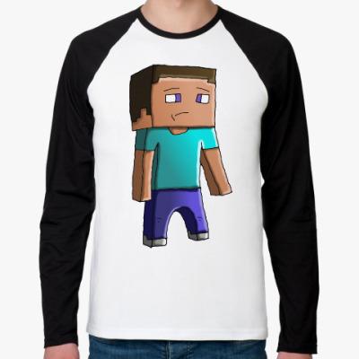 Футболка реглан с длинным рукавом Minecraft Steve