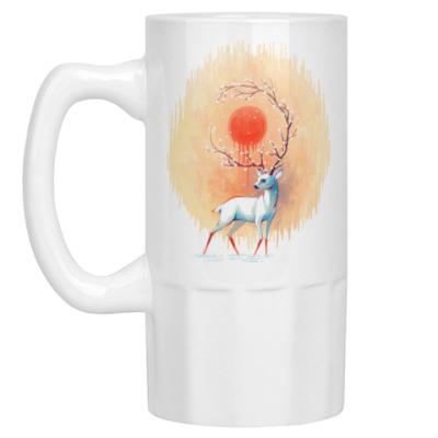 Пивная кружка Дух весны белый олень
