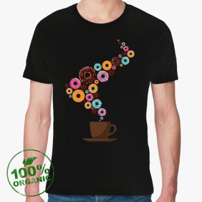 Футболка из органик-хлопка Кофе с пончиками