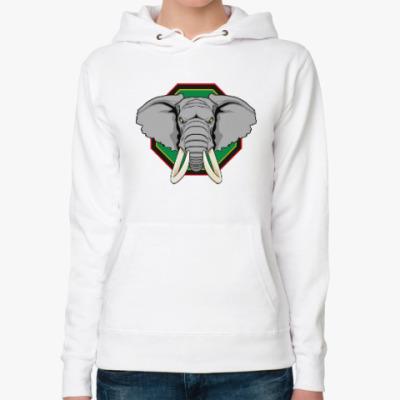 Женская толстовка худи Слон