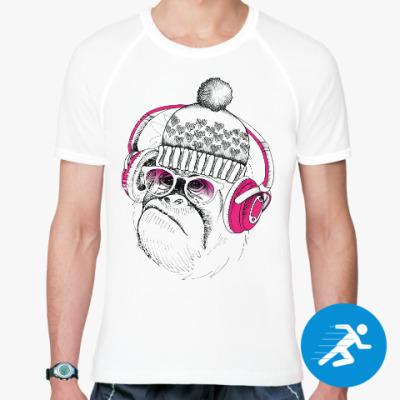 Спортивная футболка Новогодняя смешная обезьянка