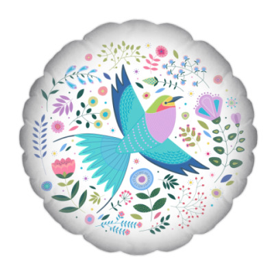 Подушка Птица среди цветов