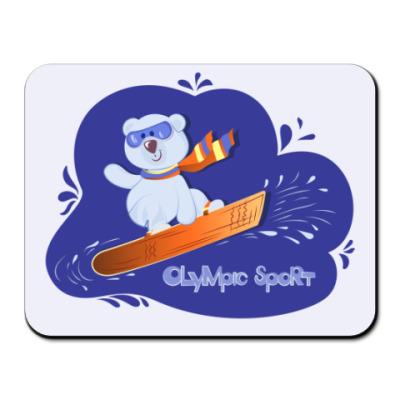 Коврик для мыши медвежонок на сноуборде