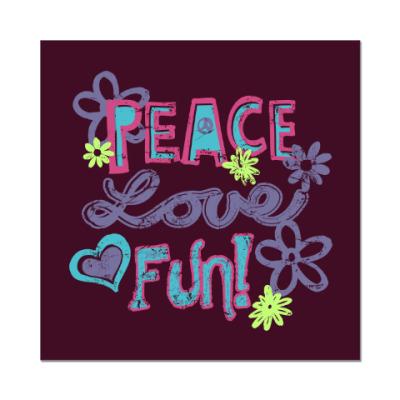 Наклейка (стикер) Мир, Любовь, Веселье!