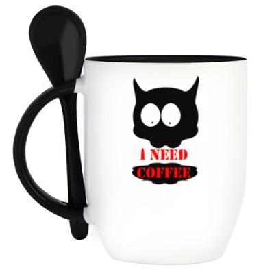 Кружка с ложкой Cat  'i need coffee'