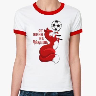 Женская футболка Ringer-T Лиса с футбольным мячиком